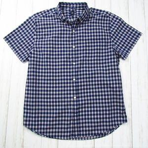 Gap Men's Blue/White Check Button Down Shirt XL